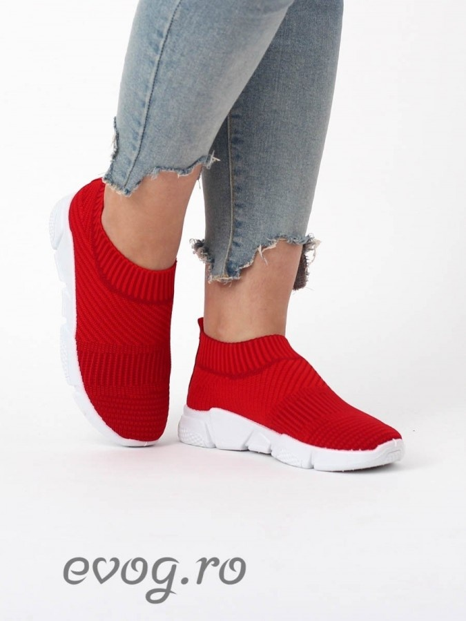 High Sneakers Balencia Stripes RED