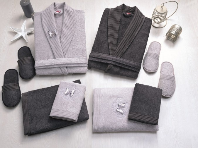 Set baie Lux Family CottonBox Bambus si Bumbac Gri Antracit