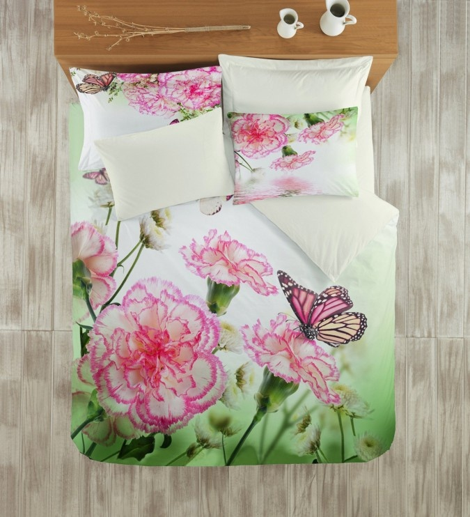 Lenjerie 3D BUMBAC 100% Satin DELUXE Colors of Fashion Floral