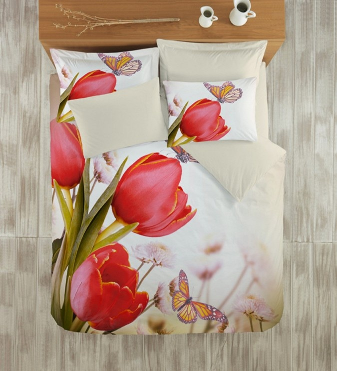 Lenjerie 3D BUMBAC 100% Satin DELUXE Colors of Fashion Tulip