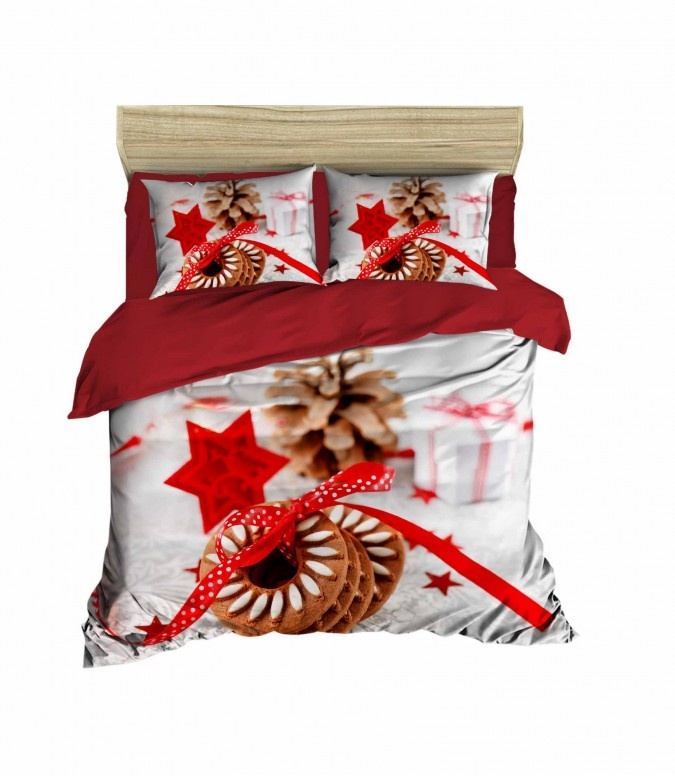 Lenjerie pat dublu 3D BUMBAC 100% Satin DELUXE Pearl Home Lovely Sweets for Santa