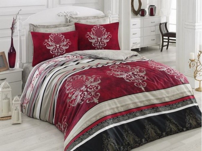 Lenjerie de pat King BUMBAC 100% Satin DELUX Royal Cottonbox Azra Bordo